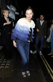 "Anna Friel wore a pair of Goldsign ""Misfit"" slim leg jeans while leaving a London theater."