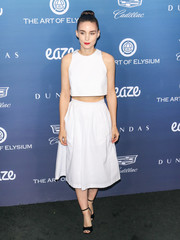 Rooney Mara was cute and trendy in a white crop-top by Hiraeth at the Art of Elysium celebration.