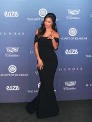 Nicole Scherzinger was classic and elegant in a black off-the-shoulder gown by Zac Posen at the Art of Elysium celebration.