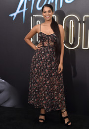 Lilly Singh was summer-chic in a spaghetti-strap print dress at the Los Angeles premiere of 'Atomic Blonde.'