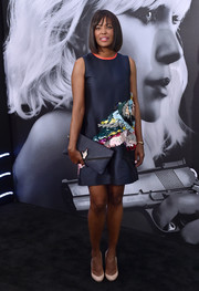 Aisha Tyler made a stylish appearance at the 'Atomic Blonde' LA premiere in a navy shift dress with elaborate paillette embellishments.