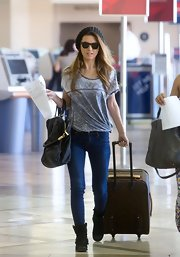 A pair of skinny jeans topped off Audrina Patridge's travel look in LAX.