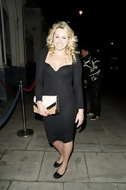 Chemmy Alcott chose a basic LBD with a sweetheart neckline for her look at Barry the Dog VIP Fundraiser event.