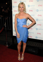 Brittany dons a sky blue corset dress with a faux wrap skirt for the premiere of 'Beastly.'