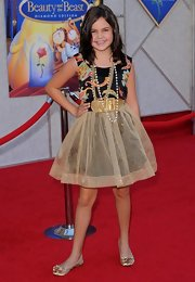 Bailee Madison was dolled up for the 'Beauty and the Beast Sing-a-Long' premiere wearing a short dress with a tutu-inspired skirt.