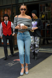 Bella Hadid was street-chic in a gray off-the-shoulder sweater by Aritzia while out on a coffee run.