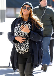 Beyonce Knowles had her nails polished with a bright blue hue while out and about in NYC.