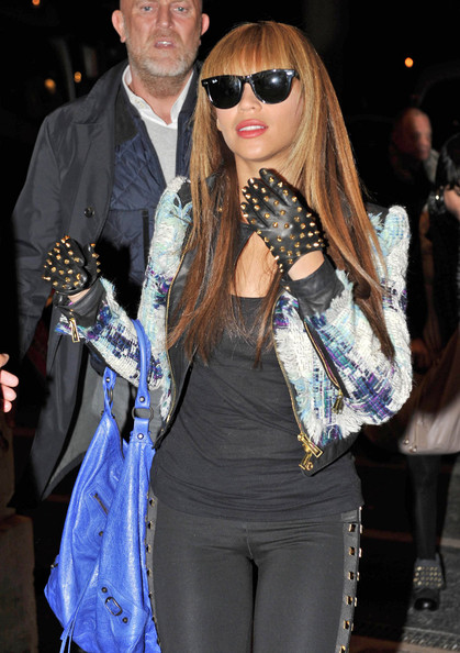 Beyonce Knowles Studded Gloves