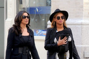 Beyonce totes her daughter Blue Ivy Carter (b. January 7, 2012) in a baby carrier as she and her mother Tina Knowles take a stroll through Manhattan on a sunny afternoon.