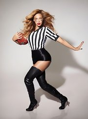 Only Beyonce can rock skin tight booty shorts! The Super Bowl singer posed in this promo pic for her halftime performance.