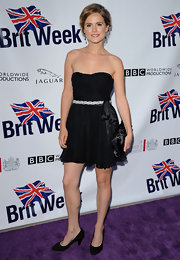 Amelia donned a feminine black strapless dress for BritWeek's launch.