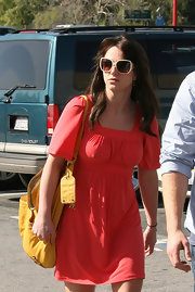 Britney Spears enjoyed a day in the sun wearing rectangle sunglasses trimmed in a cream hue.