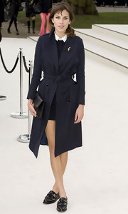 Alexa Chung wore her darling Burberry look with a pair of leather fringed oxfords for Fashion Week.