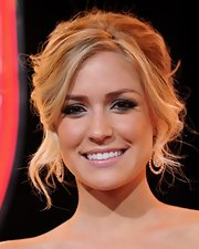Reality star Kristin Cavallari paired her loose updo with metallic emerald green shadow with a hint of silver on the inner corners of her eyes. She allowed her lids to take center stage by opting for clear gloss.