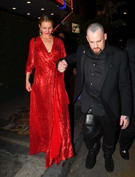 Cameron Diaz was a vision in a red sequin wrap gown by Jenny Packham while enjoying a night out.