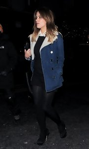 Caroline was spotted leaving Groucho wearing a denim coat with a cozy sheepskin lining.