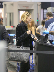 Cate Blanchett was spotted at LAX carrying a Givenchy star-print tote.