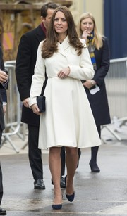 Kate Middleton visited Portsmouth looking stylish in a white Max Mara coat.