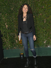 Lisa Edelstein finished off her look with a pair of black moto boots.