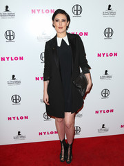 Rumer Willis layered a black satin-lapel coat over a collared LBD for the Nylon Magazine Muses and Music Party.