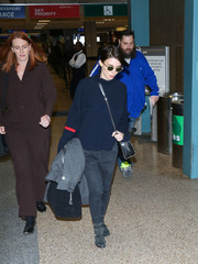 Rooney Mara was spotted at Salt Lake City Airport wearing a ribbed blue turtleneck.