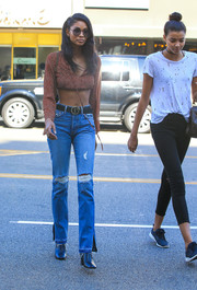Chanel Iman flaunted her enviably tiny waist in a dotted red crop-top while grabbing lunch.