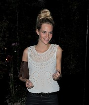 Poppy Delevingne rocked pastel-blue nail polish while enjoying a night out at Chiltern Firehouse.