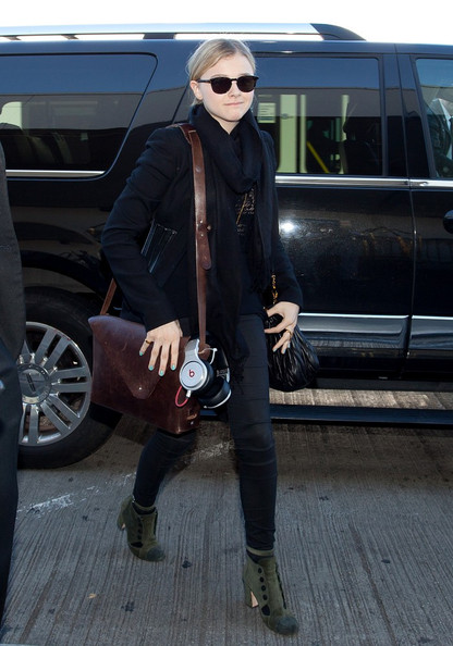 Chloe Grace Moretz Leather Messenger Bag