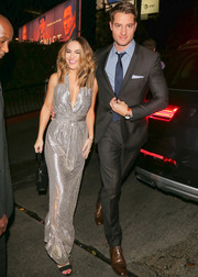 Chrishell Stause lit up the night with her gleaming silver halter gown while out in LA.