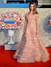 Lily James' tiered pink Elie Saab Couture off-the-shoulder gown at the 'Cinderella' Tokyo premiere looked totally fairytale-worthy!