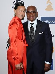 L.A. Reid's red carpet look popped with a black and white dotted tie.