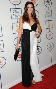 Shannon Elizabeth flaunted some cleavage in a monochrome strapless gown by Dalia MacPhee during Clive Davis' pre-Grammy gala.