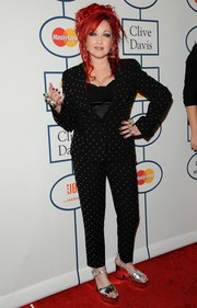 Cyndi Lauper rocked a studded black pantsuit during Clive Davis' pre-Grammy gala.