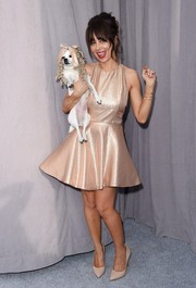 Natasha Leggero looked flirty in a gold skater dress during the Comedy Central Roast of Justin Bieber.
