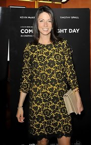 Mary McCartney's chic black lace look was given a fun flare via the yellow lining peeking out from beneath.
