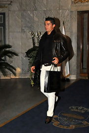 Cristiano Ronaldo looked stylish in The Ritz in a black leather jacket.