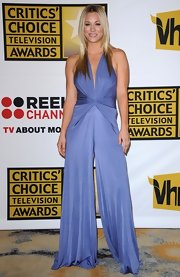 Kaley Cuoco hit the Critics' Choice Television Awards in a lilac halter jumpsuit.
