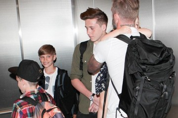 Cruz Beckham Romeo Beckham David Beckham and Family at LAX