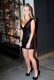 Kendra Wilkinson kicked off the new season of 'Dancing With the Stars' in black suede platform pumps.