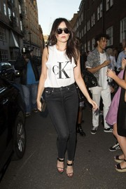 Daisy Lowe made her way to the CK Jeans Portrait party wearing, what else, a Calvin Klein tank top.
