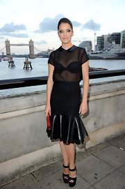 Julie Gonzalo polished off her look with a pair of black platform sandals at the launch of 'Dallas' in London.