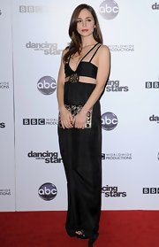 Eliza dons a daring floor length cut out jumpsuit for Dancing with the Stars' 200th episode celebration.
