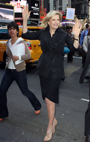 Diane Sawyer's nude strappy sandals were a sexy complement to her modest all-black outfit on 'Good Morning America.'