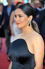 Salma chose a sleek ponytail for her look at the Deauville Film Festival.