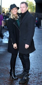 Denise van Outen finished her outfit with a pair of mid-calf leather boots while out at the London studios.