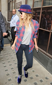 Actress Drew Barrymore wore a pair of J Brand 901 leggings in Olympia while promoting her new film 'Going the Distance' at BBC Radio 1 studios.