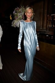 Jennifer Wade's icy blue gown looked sleek and sophisticated at 'The Great Gatsby' drink reception in London.