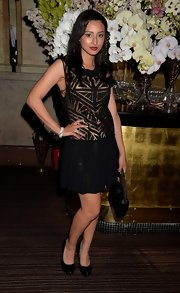 Leah Weller's black drop-waist dress looked '20s chic at 'The Great Gatsby' drink recption in London.