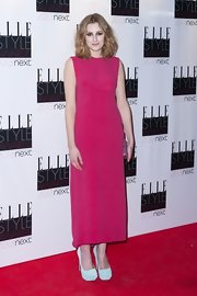 Laura Carmichael attended the Elle Style Awards in a pink dress and mint platform pumps.