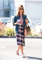 Jessica Alba looked just like a college student in her WAYF plaid skirt and denim shirt while out in Santa Monica.